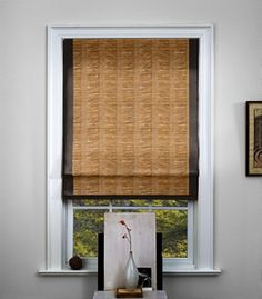 Waterfall Woven Wood Shade in Montauk-4 with a Black   Looks great under other fabric window treatments