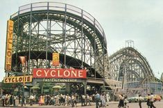 """Faster Than Ever"" Coney Island's Cyclone roller coaster post card 1950's by stevesobczuk, via Flickr"