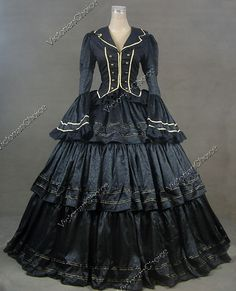 Black and gold Victorian dress....  somehow I feel I might get a few odd looks in car-line with this dress on my bodice.