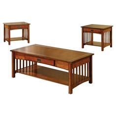Furniture of America Berta Mission Style 3 Piece Accent Table Set - Antique Oak