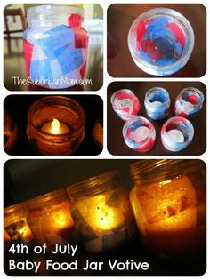4th Of July Baby Food Jar Votive Candle Holders ~ Kid's Craft | TheSuburbanMom