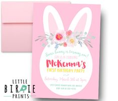 Bunny Birthday Invitation  Having a Bunny themed party? This sweet mint and pink invitation comes with a sweet bunny, and photo of your child! Done in a shabby/vintage style. The best part is that its a digital file so you can print as many as you like, or go green and send your invitation via email. Print 1, print 1000! Courtney Talbot Photography Cute hat as shown available from www.etsy.com/shop/littleblueolive  HOW TO ORDER  1) Choose & purchase the design that you like...