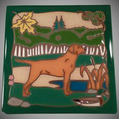 Vintage Masterworks Art Tile - Hunting Dog with Vivid Colors : American Decorative Ceramic Tile