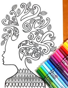 Vintage lady Colouring Page for grown ups, perfect for those who like coloring pages and more complex work with many colors. Its color therapy!