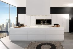 White kitchen recessed doors - Modern Italian Kitchen Design From Arclinea, - http://www.home-designing.com/2013/08/modern-italian-kitchen-design-from-arclinea