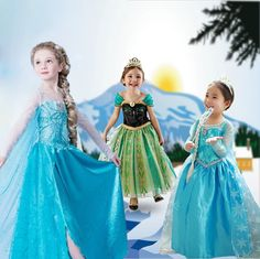Aged 3-11 European And American Kids Anna Elsa Princess Dress Girls Dress Children's Holiday Performances Dress