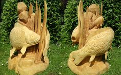 Chainsaw Carved Dragons   Circling Carp