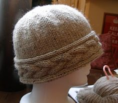 Cabled Hat-- I like that the cable is horizontal instead of vertical