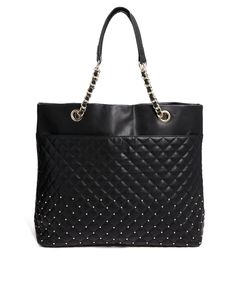 Mango Quilted & Studded Oversized Shopper Bag