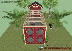home garden plans: L102 - Chicken Coop Plans Construction - Chicken Coop Design - How To Build A Chicken Coop Building A Chicken Run, Walk In Chicken Coop, Easy Chicken Coop, Diy Chicken Coop Plans, Chicken Coop Designs, Chicken Runs, Tropical House Design, Garden Planning, Poultry