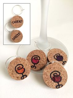 Hand-Painted Wine Cork Wine Glass Charms CHEERS by CORKbyAlexis