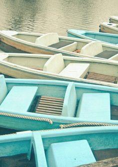 White and Aqua boats