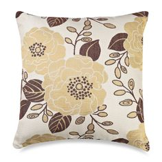 yellow and chocolate floral pillow