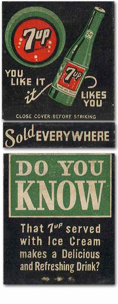 """7Up """"YOU LIKE IT It LIKES YOU""""  #Frontstriker #Matchbookcover To design & order your logo #matches GoTo: www.GetMatches.com or Call 800.605.7331 Today!"""