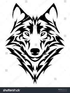 Vector wolf& head as a design ele.Vector wolf& head as a design element on isolated bac… Beautiful wolf tattoo.Vector wolf& head as a design element on isolated background - Wolf Tattoo Design, Tribal Tattoo Designs, Tribal Wolf Tattoos, Tattoo Wolf, Wolf Design, Animal Design, Luna Tribal, Tribal Art, Tattoo Drawings