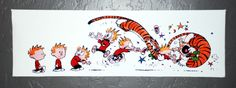 Calvin and Hobbes Flying Tackle Canvas Print