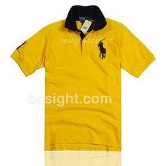 Ralph Lauren Men's Short-sleeve Contrast Collar Big Pony Polo Shirt - Yellow