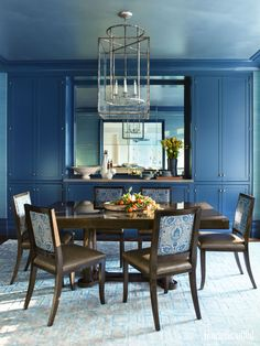 Blue Rooms - An Ode To America's Favorite Color--love the upholstery on the chairs