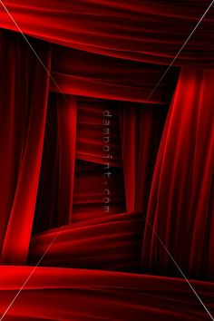 Angles around doorways: Red curtain frame illusion