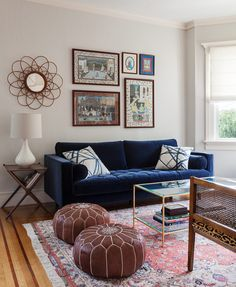 Christy Allen Designs, San Francisco, Noe Valley Project, Article Blue Velvet sofa, Leopard Bench, Moroccan Poufs, Kelley Werstler Pillows, Antique Rug, Eclectic Living Room, Rattan Mirror, Persian Artwork, Worlds Away Brass and Glass Coffee Table, Room and Board Side Table
