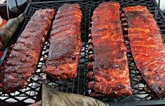 "Tuffy Stone's Competition Ribs  George ""Tuffy"" Stone of A Sharper Palate catering in Richmond, Virgina, developed this grill recipe for ribs using his 3-2-1 method: cooking for three hours unwrapped, two hours wrapped in foil, and another one unwrapped. Look how tender they look! #summer #barbecue"