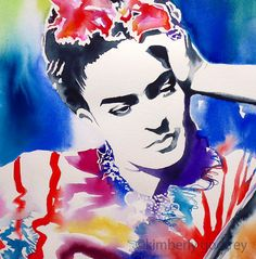 Frida Kahlo Art Print of Original Watercolor by KimberlyGodfrey