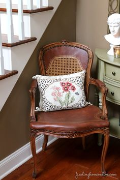 When Hoarding Pays Off – A Leather Chair Makeover  www.findinghomeonline.com