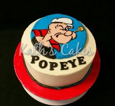 Birthday cake for my dad's . We all call him Popeye! Boy Birthday Parties, Birthday Cake, Birthday Ideas, 12th Birthday, Popeye And Olive, Popeye The Sailor Man, Cupcakes, Character Cakes, Cakes For Men