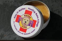 "Healing Balm 4 Dogs – Kiss It Better"" is loaded with healing properties to help with numerous skin related issues. Like rashes, cuts, burns, mange, hot spots, inflamed and itchy skin and even cracked noses and paws.  Calendula and St. John's Wort oil are great for soothing the skin, essential oils like lavender, geranium, and chamomile are well known for wound care.  Click the link for more info"