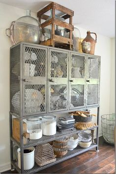 """Awesome vintage/industrial """"hutch""""."""