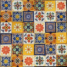 36 AUTHENTIC MEXICAN TILES 10.5X10.5CMS CALIDA MIX