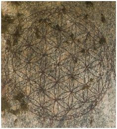 "An engraving of the ""Flower of Life"" at the Temple of Osiris, Egypt. The Flower of Life is a common symbol in Sacred Geometry, based on permutations of the simple daisy wheel figure."