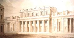 A 19th century print showing the south facade of the Bank of England in London as rebuilt by Sir John Soane.  Bank of England Entrance Facade 1818–1827