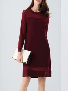 Long Sleeve Scoop Neckline Casual A-line Midi Dress