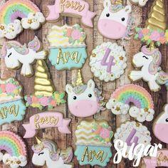 "424 Likes, 18 Comments - Lyndsie Hays (@sugarbylyndsie) on Instagram: ""Always be a unicorn! ✨ Happy 4th birthday, Ava! #customcookies #decoratedcookies #unicorn #dallas…"""