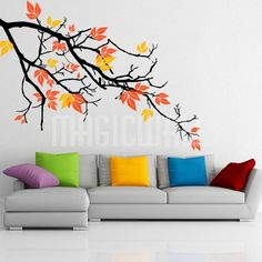 Pretty Autumnal Branch Wall Decal is customizable and removable. We use the best quality material to manufacture our wall decals. All wall decals are made to order and manufactured in Canada. Simple Wall Paintings, Creative Wall Painting, Wall Painting Decor, Mural Wall Art, Tree Wall Art, Creative Walls, Diy Wall Art, Diy Wall Decor, Room Decor