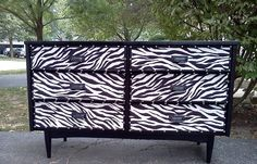 A daring zebra dresser Zebra Print Rooms, Animal Print Bedroom, Animal Print Furniture, Colorful Fish, Tropical Fish, Painted Furniture, Furniture Redo, Mid Century Dresser