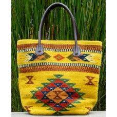 Fair Trade, handwoven by Manos Zapotecas. Canary Yellow Diamond Wool Tote Bag
