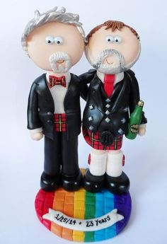 Personalized handmade custom LGBT wedding cake toppers - Hatch.co.