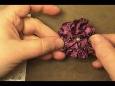 I ❤ ribbon embroidery . Learn how to embroidery tapes. Heated Ribbon Flower using Stampin' Up! Ribbon Art, Fabric Ribbon, Ribbon Crafts, Flower Crafts, Ribbon Bows, Ribbon Flower, Cloth Flowers, Diy Flowers, Fabric Flowers
