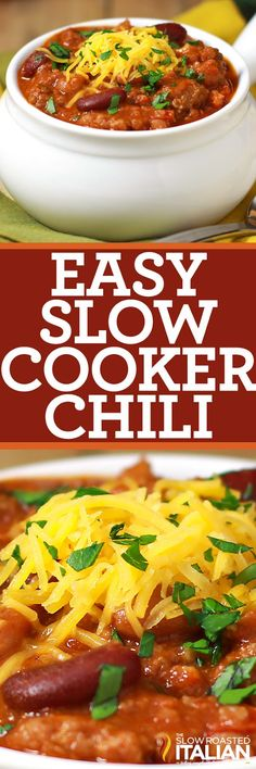 This simple and easy recipe is perfect to feed a crowd! Our HEARTY slow cooker chili is fully loaded; packed with meat, beans and just the right amount of heat to make your tongue tingle. Cooked in your crock pot all day or in just 4 hours. Slow Cooker Chili, Crock Pot Slow Cooker, Crock Pot Cooking, Slow Cooker Chicken, Slower Cooker, Crockpot Recipes, Cooking Recipes, Chili Recipes, Soup Recipes