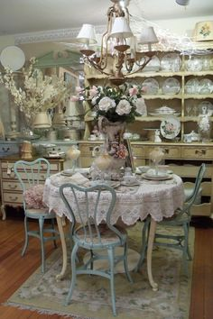 "2012 retail display, vintage table top and metal chairs ""shabby"""