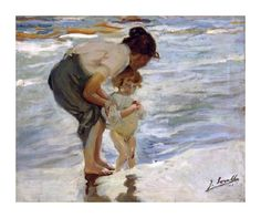 Cheap painting digital, Buy Quality art dress directly from China painting arts and crafts Suppliers: wall art Mutter und Kind am Strand. by Joaquin Sorolla y Bastida decor paintings Hand painted High quality Spanish Painters, Spanish Artists, Painting Frames, Painting Prints, Fine Art Prints, Beach Paintings, Art Abstrait, Mother And Child, Famous Artists