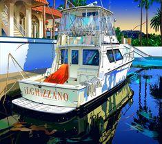 鈴木英人 : 碧い波止場 Japanese Illustration, Landscape Illustration, Illustration Art, Naive Art, Ship Art, Painting Techniques, Pixel Art, Landscape Paintings, Cool Art