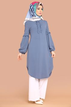 Detail Tunic with Pearl Bebe Blue - . - Ruffle Detail Pearl Tunic Bebe Blue – in fie -Ruffle Detail Tunic with Pearl Bebe Blue - . - Ruffle Detail Pearl Tunic Bebe Blue – in fie - Stylish Dress Designs, Stylish Dresses, Modest Dresses, Modest Outfits, Abaya Fashion, Modest Fashion, Fashion Outfits, Fashion Muslimah, Muslim Women Fashion