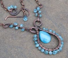 Gorgeous apatite and wire wrapped necklace! I love the color of the copper and how it looks with the blue apatite! (from Designs by Cher)