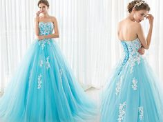 Fairy Ball Gown Strapless Turquoise Tulle Lace Beaded Prom Dress Lace Up Back Turquoise Prom Dresses, Prom Dresses Blue, Strapless Dress Formal, Formal Dresses, Tulle Lace, Beaded Lace, Dress Lace, Lace Up, Gown Dress Online
