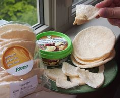 Pop Crisps + Hummus! Delicious and very filling snack! Pop crisps are found at Sobey's in the bakery section. How to add them into your diet: 10 pop crisps can be used as a carbohydrate option (or 5 pop crisps can be used in place of 1/2 cup of brown rice or a medium sweet potato). Use 2 - 3 tablespoons of hummus but drop a serving of pistachios, almonds or peanut butter from your diet to make room for the hummus. Thank you to Chelsie Ogden for bringing this snack to my attention. Enjoy!