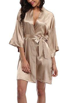 WitBuy Short Wedding Sleepwear Nightwear Kimono Robe for bride and  Bridesmaids Champagne XS These beautiful satin 020adfac8