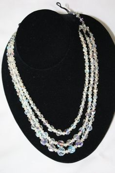 Vintage Bridal Crystal Necklace Glass Bead 3 Strand  by patwatty, $25.00